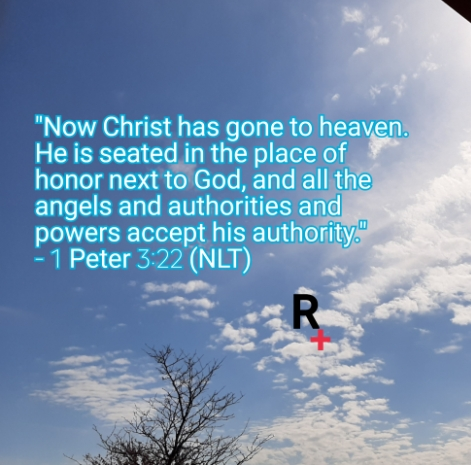 Background is of a sunny sky with clouds and a top of a tree on bottom left area of the picture. Text is 1 Peter 3:22 NLT