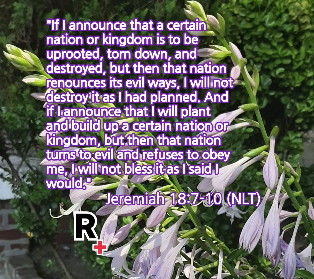 [Alt Text: Background is a picture of pale purple flowers blooming. In white text bordered in dark purple, is the Bible verse from Jeremiah 18:7-10 (NLT). Bottom left of picture is the Redemption Ministries logo – Bold black R with a red cross at its bottom right corner and bordered in white for easier viewing.]