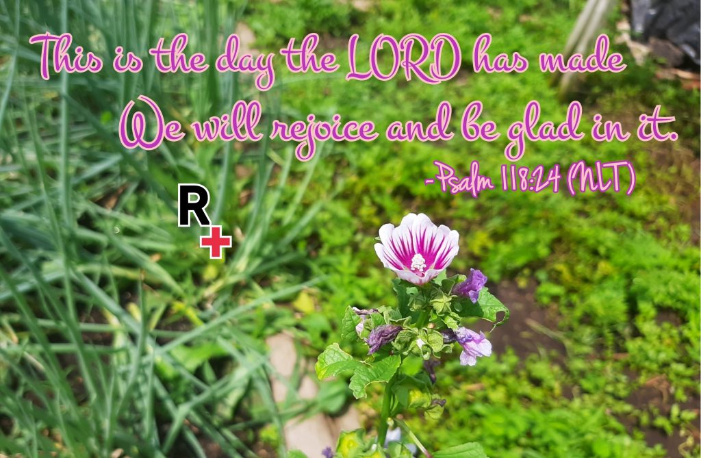 "The background is a picture of a pink and white blooming flower. The text is: ""This is the day the LORD has made We will rejoice and be glad in it."" - Psalm 118:24 (NLT). The Redemption Ministries logo, a bold black R bordered in white, with a bold red cross bordered in white at R lower right corner, is located beneath the verse"